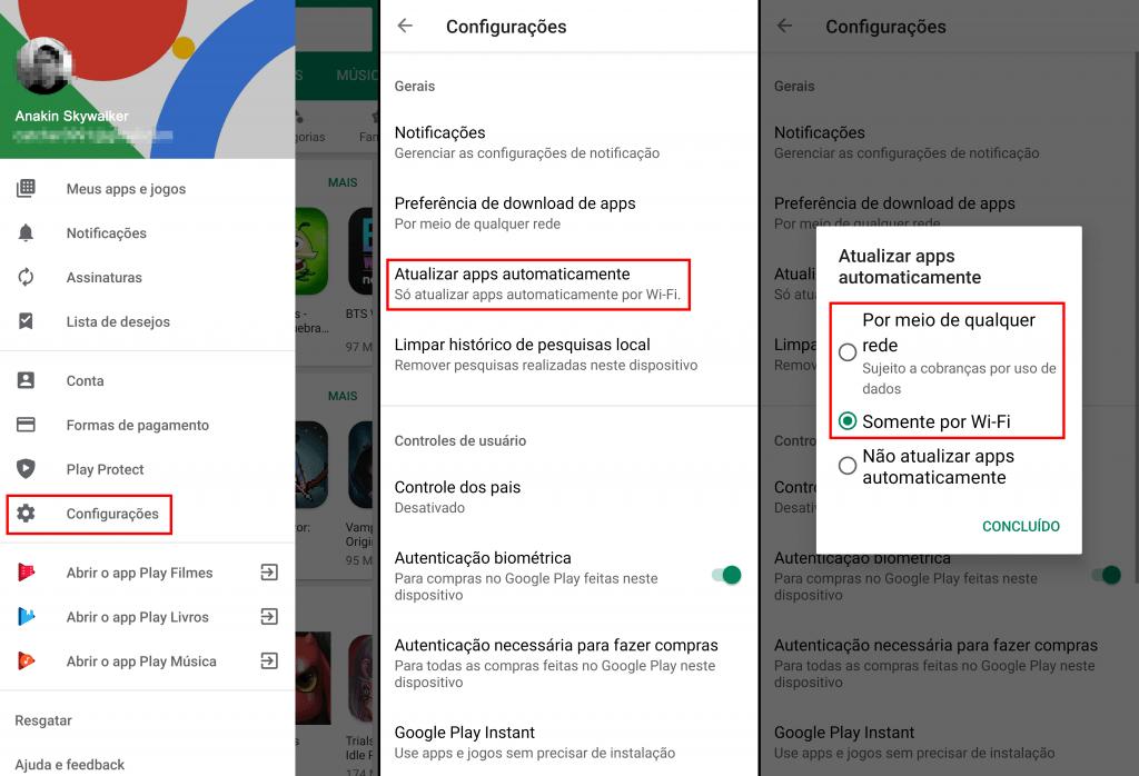 configurando atualização android